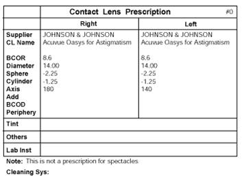 Description: toric contact lens prescription