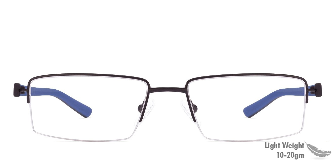 6f338cf6d677c Black Blue Half Rim Rectangle Medium (Size-51) Vincent Chase Crayons VC  E10206-C1 Eyeglasses