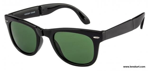 056e3c0e8cd Vincent Chase Premium VC 2105 Black Green Foldable Wayfarer Sunglasses