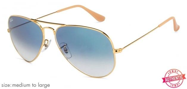 4cfa004f2852 Ray-Ban 3025 Medium-Large (Size-58) Golden Blue Mirror Unisex '001-3f  Sunglasses