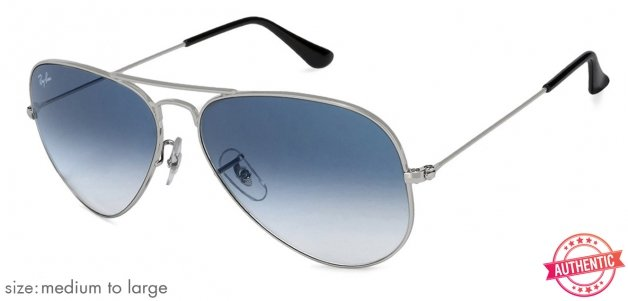 3bb9f039e34 Ray-Ban RB3025 Medium-Large (Size-58) Silver Blue Gradient Men  003-3f  Sunglasses