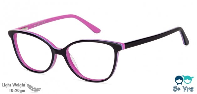 f3a106b6a7 Pink Purple white Line Full Rim Cat Eye Kids (8+ yrs) Vincent Chase Owlers  VC E11602 -C2 Eyeglasses at LensKart.com